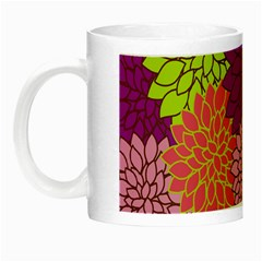 Floral Card Template Bright Colorful Dahlia Flowers Pattern Background Night Luminous Mugs