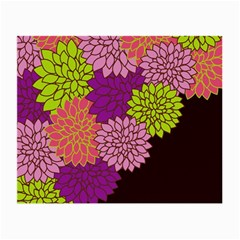Floral Card Template Bright Colorful Dahlia Flowers Pattern Background Small Glasses Cloth