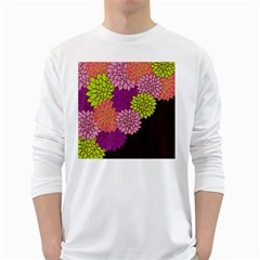 Floral Card Template Bright Colorful Dahlia Flowers Pattern Background White Long Sleeve T-Shirts