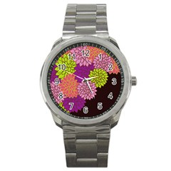 Floral Card Template Bright Colorful Dahlia Flowers Pattern Background Sport Metal Watch
