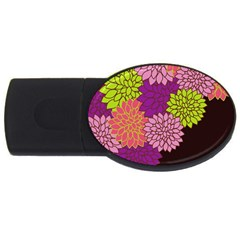 Floral Card Template Bright Colorful Dahlia Flowers Pattern Background USB Flash Drive Oval (4 GB)