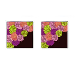 Floral Card Template Bright Colorful Dahlia Flowers Pattern Background Cufflinks (Square)