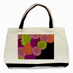 Floral Card Template Bright Colorful Dahlia Flowers Pattern Background Basic Tote Bag