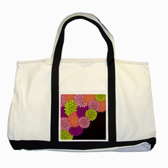 Floral Card Template Bright Colorful Dahlia Flowers Pattern Background Two Tone Tote Bag