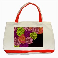 Floral Card Template Bright Colorful Dahlia Flowers Pattern Background Classic Tote Bag (red)
