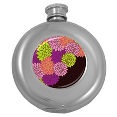 Floral Card Template Bright Colorful Dahlia Flowers Pattern Background Round Hip Flask (5 oz)