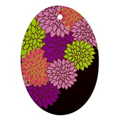 Floral Card Template Bright Colorful Dahlia Flowers Pattern Background Oval Ornament (Two Sides)