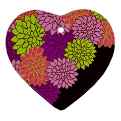 Floral Card Template Bright Colorful Dahlia Flowers Pattern Background Heart Ornament (Two Sides)
