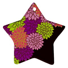 Floral Card Template Bright Colorful Dahlia Flowers Pattern Background Star Ornament (two Sides)
