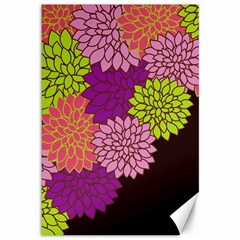 Floral Card Template Bright Colorful Dahlia Flowers Pattern Background Canvas 12  x 18