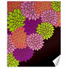 Floral Card Template Bright Colorful Dahlia Flowers Pattern Background Canvas 16  x 20