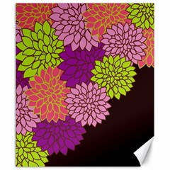 Floral Card Template Bright Colorful Dahlia Flowers Pattern Background Canvas 20  x 24