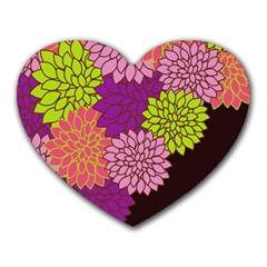 Floral Card Template Bright Colorful Dahlia Flowers Pattern Background Heart Mousepads