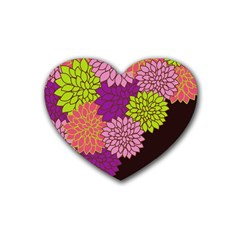 Floral Card Template Bright Colorful Dahlia Flowers Pattern Background Heart Coaster (4 Pack)