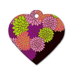Floral Card Template Bright Colorful Dahlia Flowers Pattern Background Dog Tag Heart (two Sides)