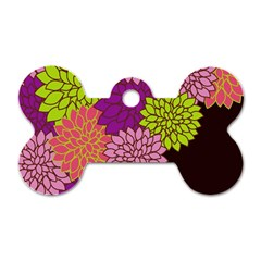 Floral Card Template Bright Colorful Dahlia Flowers Pattern Background Dog Tag Bone (two Sides)