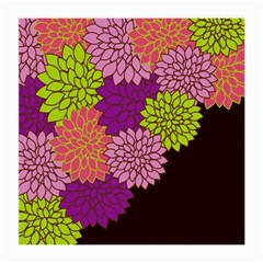 Floral Card Template Bright Colorful Dahlia Flowers Pattern Background Medium Glasses Cloth