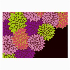 Floral Card Template Bright Colorful Dahlia Flowers Pattern Background Large Glasses Cloth