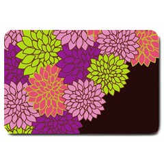 Floral Card Template Bright Colorful Dahlia Flowers Pattern Background Large Doormat
