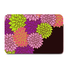 Floral Card Template Bright Colorful Dahlia Flowers Pattern Background Plate Mats