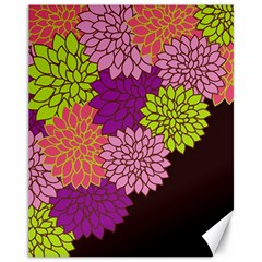 Floral Card Template Bright Colorful Dahlia Flowers Pattern Background Canvas 11  x 14