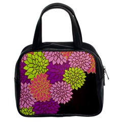 Floral Card Template Bright Colorful Dahlia Flowers Pattern Background Classic Handbags (2 Sides)