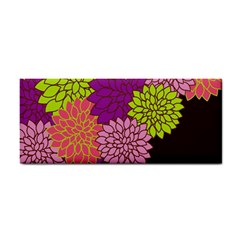 Floral Card Template Bright Colorful Dahlia Flowers Pattern Background Cosmetic Storage Cases