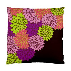 Floral Card Template Bright Colorful Dahlia Flowers Pattern Background Standard Cushion Case (Two Sides)