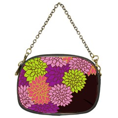 Floral Card Template Bright Colorful Dahlia Flowers Pattern Background Chain Purses (Two Sides)