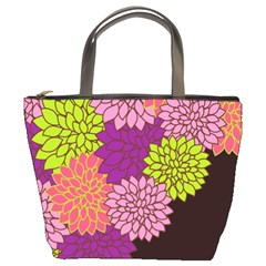 Floral Card Template Bright Colorful Dahlia Flowers Pattern Background Bucket Bags