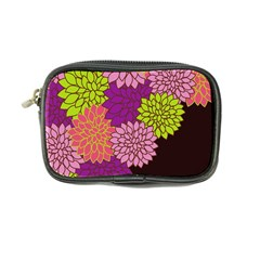 Floral Card Template Bright Colorful Dahlia Flowers Pattern Background Coin Purse