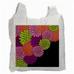 Floral Card Template Bright Colorful Dahlia Flowers Pattern Background Recycle Bag (Two Side)