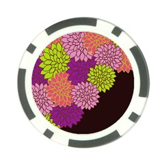 Floral Card Template Bright Colorful Dahlia Flowers Pattern Background Poker Chip Card Guard (10 pack)