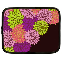 Floral Card Template Bright Colorful Dahlia Flowers Pattern Background Netbook Case (XL)