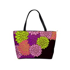 Floral Card Template Bright Colorful Dahlia Flowers Pattern Background Shoulder Handbags
