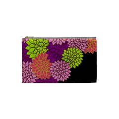 Floral Card Template Bright Colorful Dahlia Flowers Pattern Background Cosmetic Bag (Small)