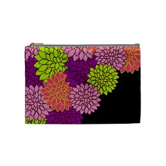 Floral Card Template Bright Colorful Dahlia Flowers Pattern Background Cosmetic Bag (Medium)