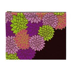Floral Card Template Bright Colorful Dahlia Flowers Pattern Background Cosmetic Bag (XL)