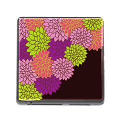 Floral Card Template Bright Colorful Dahlia Flowers Pattern Background Memory Card Reader (Square)