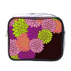 Floral Card Template Bright Colorful Dahlia Flowers Pattern Background Mini Toiletries Bags