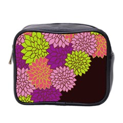 Floral Card Template Bright Colorful Dahlia Flowers Pattern Background Mini Toiletries Bag 2-Side