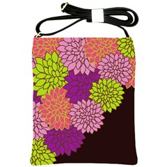 Floral Card Template Bright Colorful Dahlia Flowers Pattern Background Shoulder Sling Bags