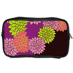 Floral Card Template Bright Colorful Dahlia Flowers Pattern Background Toiletries Bags