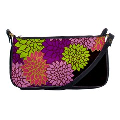 Floral Card Template Bright Colorful Dahlia Flowers Pattern Background Shoulder Clutch Bags