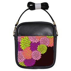 Floral Card Template Bright Colorful Dahlia Flowers Pattern Background Girls Sling Bags