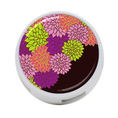 Floral Card Template Bright Colorful Dahlia Flowers Pattern Background 4-Port USB Hub (One Side)