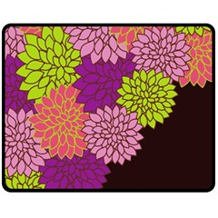 Floral Card Template Bright Colorful Dahlia Flowers Pattern Background Fleece Blanket (medium)