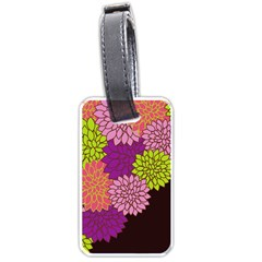 Floral Card Template Bright Colorful Dahlia Flowers Pattern Background Luggage Tags (two Sides)
