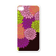 Floral Card Template Bright Colorful Dahlia Flowers Pattern Background Apple Iphone 4 Case (white)