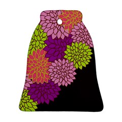 Floral Card Template Bright Colorful Dahlia Flowers Pattern Background Ornament (Bell)